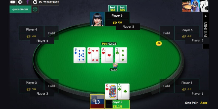 Poker table at Bet365