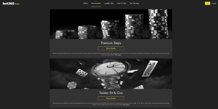 Current tournaments at Bet365 Poker